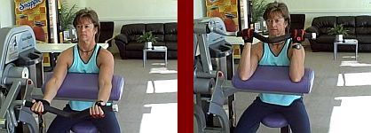 biceps curl gym equipment start and finish picture