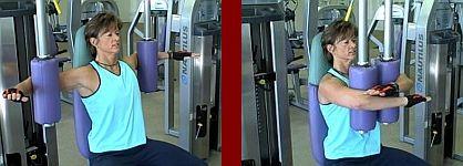 Pec fly gym equipment start and finish picture
