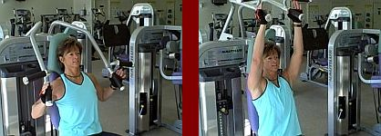 shoulder press gym equipment start and finish picture
