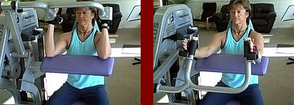 triceps extension gym equipment start and finish picture