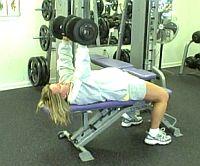girl doing DB chest presses