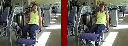 leg extension gym equipment start and finish picture